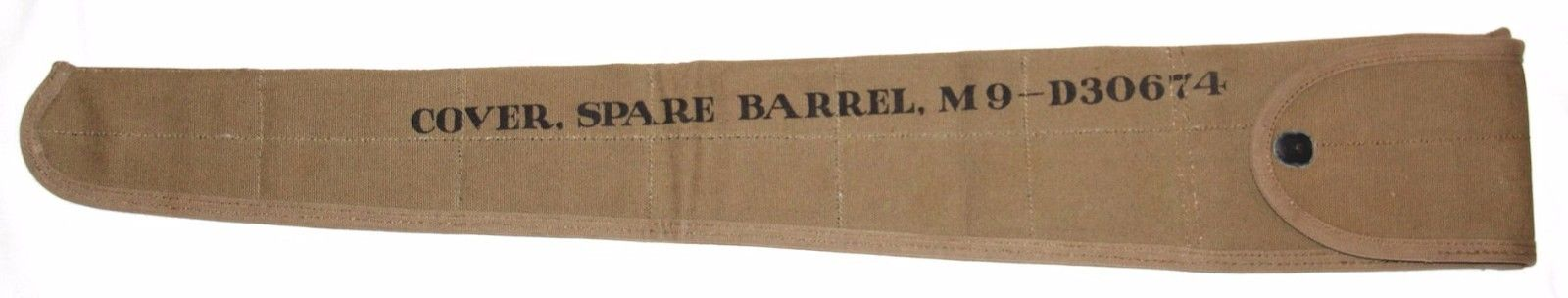 UNISSUED, EARLY WWII 1942 DATED M9 SPARE MG BARREL COVER W/ LEATHER LINING