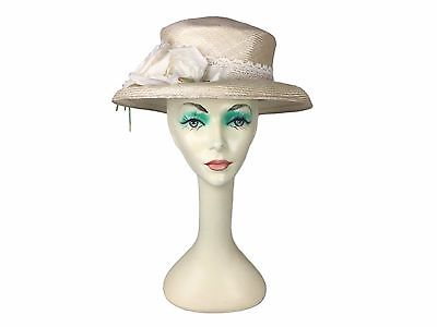 Estate Find! Meril Raffia Embellished Flower Hat USA Made Derby