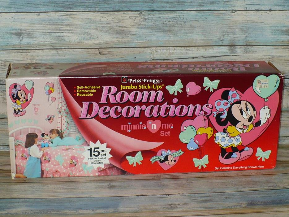 Vintage Disney MINNIE 'n ME Room Decorations Vinyl Wall Stickers Priss Prints