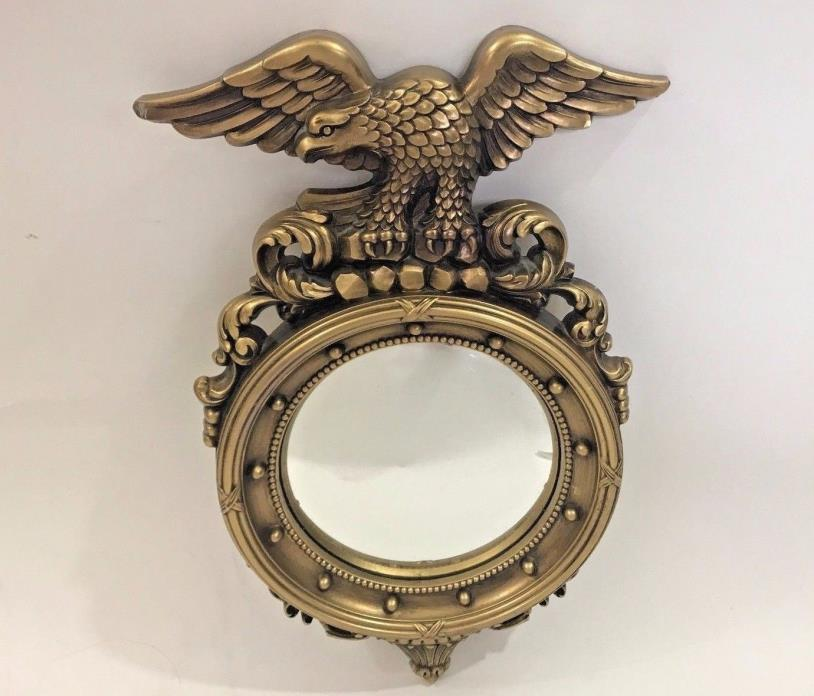 Syroco Eagle Mirror Round Porthole Convex USA Patriotic Federal Style Wall Decor