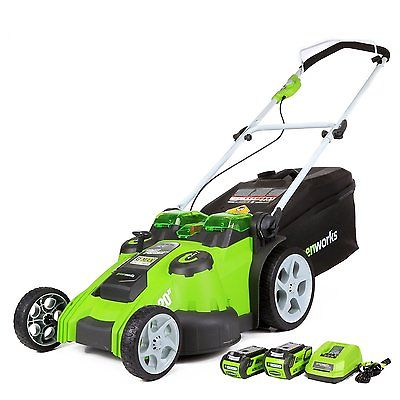 Push Lawn Mowers Electric Cordless Outdoor Yard Grass Cutter Battery Catcher