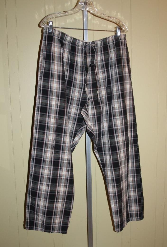 Mens Black Plaid Jockey Lounge PJ Pants Sleepwear  XL