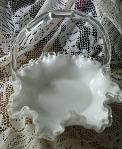 FENTON SILVER CREST BASKET WITH CLEAR EDGING