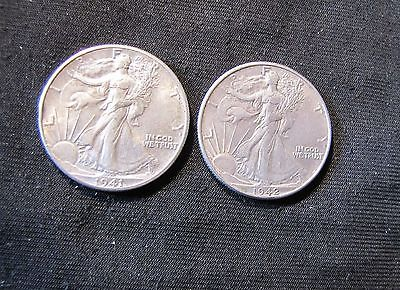 1941 & 1942 Walking Liberty Silver Half Dollars