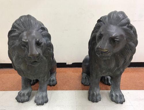 BRONZE LION STATUES A PAIR OF UNIQUE HOUSE ENTRANCE Large Life Size Male LIONS