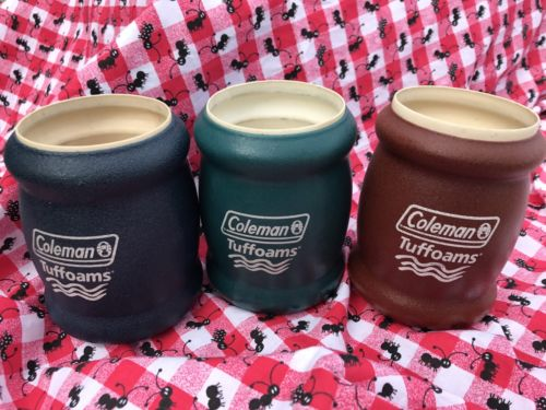 Vtg Coleman Tuffoams Set 3 Cozies Picnic Party Insulated Can Holders Soda Pop
