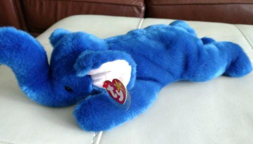 Ty Beanie Baby Buddy Original 1998 Royal Blue Peanut The Elephant Spelling Error