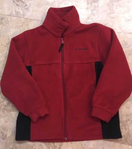 Columbia Boys Fleece Full Zip Jacket Brick Red Black 8