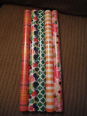 NEW Lot of 5 Striped, Plaid, Floral, Dots Wrapping Paper- 20