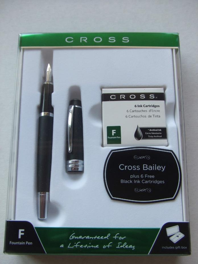 Cross Bailey Fountain Pen, Matte Black, Chrome Trim, New in Box