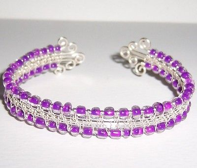 REDUCED! Silver Wire Woven Adjustable Wrapped Cuff Bracelet Lavender Beads