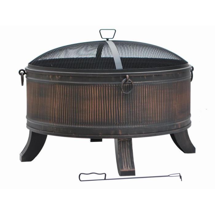 Outdoor FirePit Patio Fireplace Backyard Heater Cover Steel Wood Bowl Fire Pit