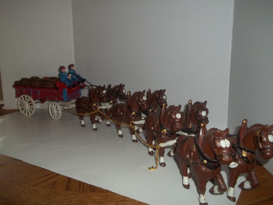 VINTAGE ANHEUSER BUDWEISER CAST IRON EIGHT CLYDESDALE HORSES, BEER WAGON