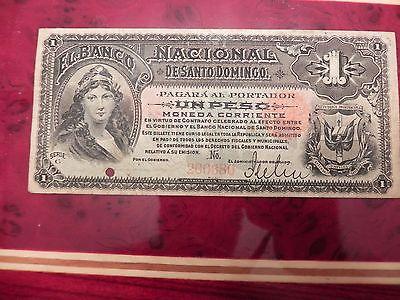 1888 DOMINICAN REPUBLIC UN PESO  BANCO  SANTO DOMINGO # S131  BANKNOTE RARE!