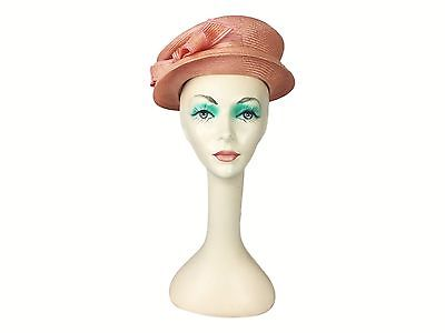 Estate Find! Meril Raffia Salmon Pink Bow Hat USA Made Derby