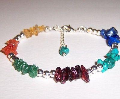 SALE Chakra bracelet gemstone chips and  - Amethyst, Lapiz, Garnets Bracele