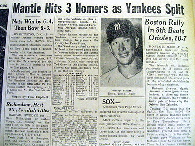 1955 newspaper NY Yankee star MICKEY MANTLE hits 3 HOME RUNS in a single day