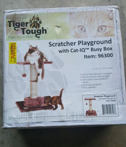 Furhaven Pet Cat Playground Scratching Post Furniture with Iq Busy Box, Brown,