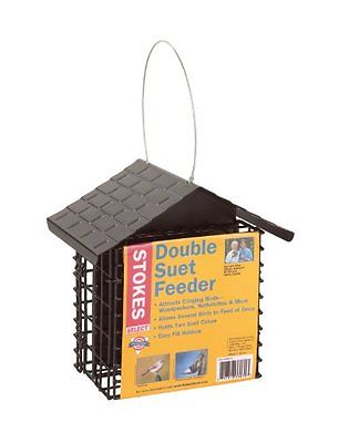 Double Suet Bird Feeder Stokes Select with Metal Roof Two Capacity Seed Feeders