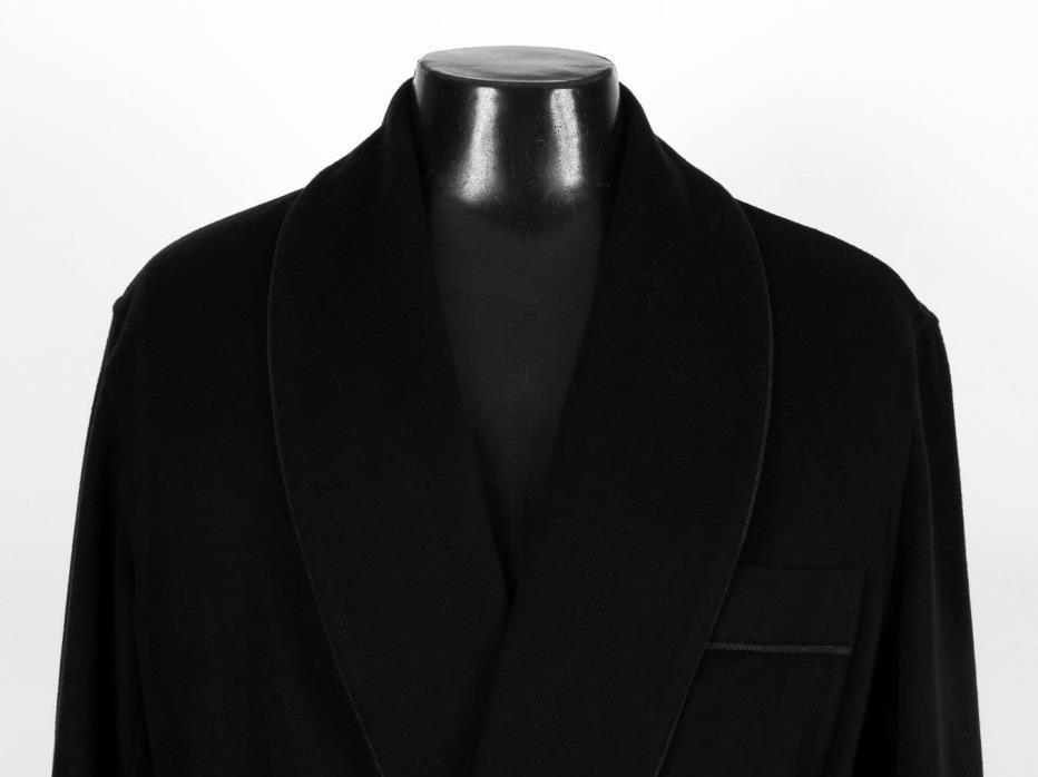 $3650 LORO PIANA 100% CASHMERE Robe - Black - XXL