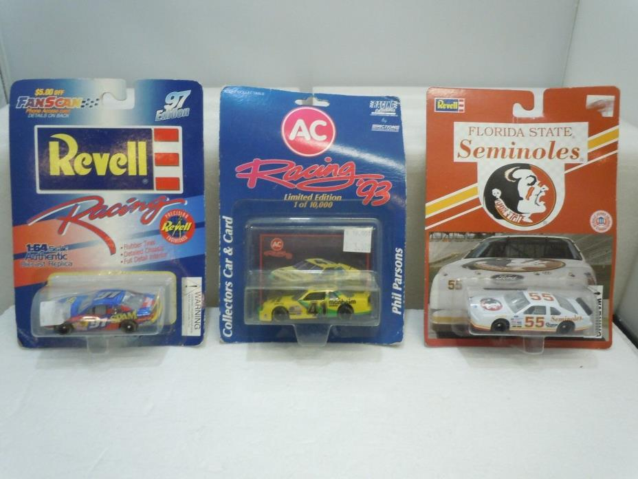RACE CAR 1:64 LOT 1990's Vintage Sealed Parsons Diecast Seminoles Spam Revell AC