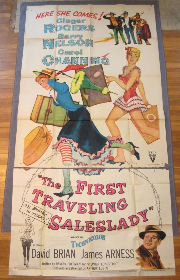 FIRST TRAVELING SALESLADY Ginger Rogers Original 1956 RKO 3-Sheet Movie Poster