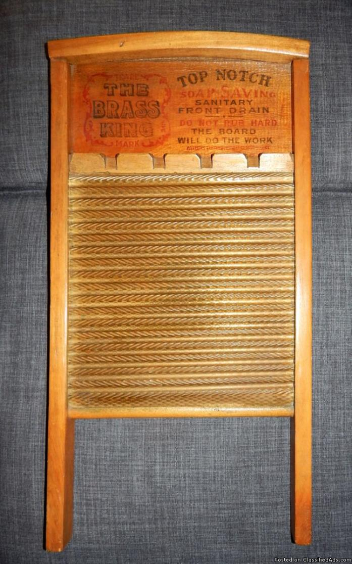 2 Antique Washboards: The Brass King; Maid Rite - Excellent Condition