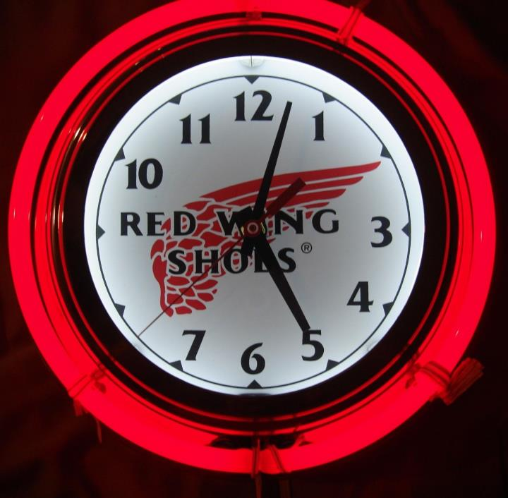 New Red Wing Shoes Retro-Look Neon Wall Clock