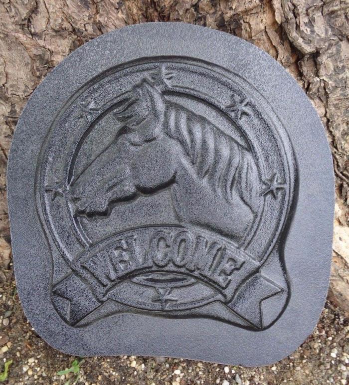 plastic horse welcome mold plaster concrete casting garden plaque mould