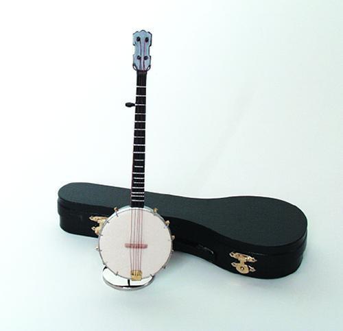 Five String BANJO Shaped Music Box Plays OH SUSANNA Bluegrass.