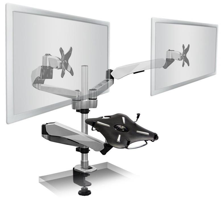 Mount-It! MI-75821 Dual Articulating Tilting Rotating Swiveling Arm Desk Mount