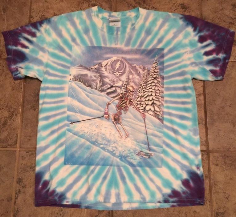 VTG 1991 Grateful Dead Tie-Dye Shirt Skiing Skeleton