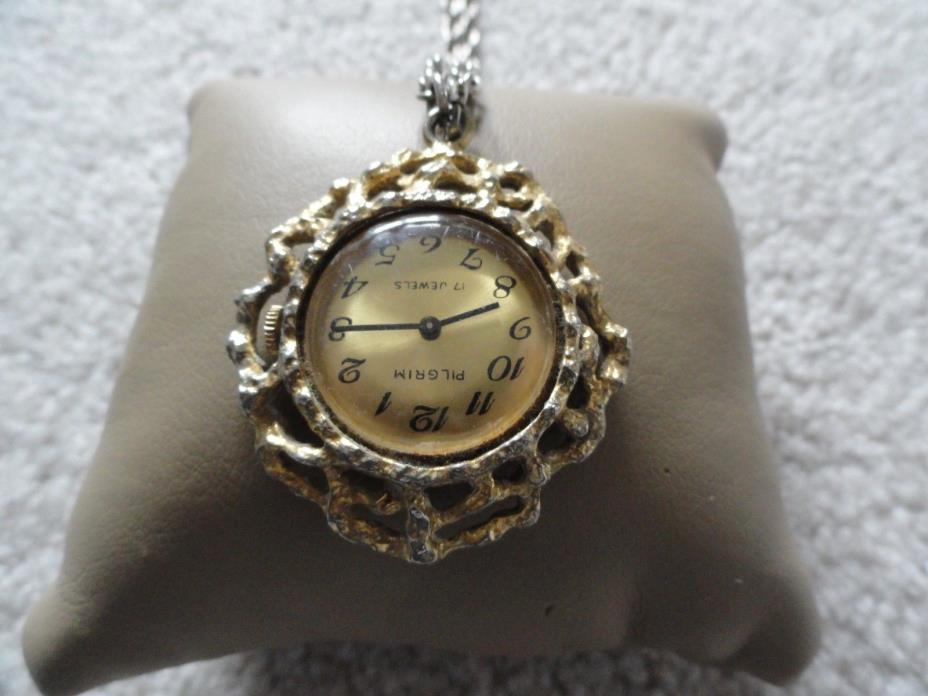 Vintage Pilgrim 17 Jewels Wind Up Necklace Pendant Watch