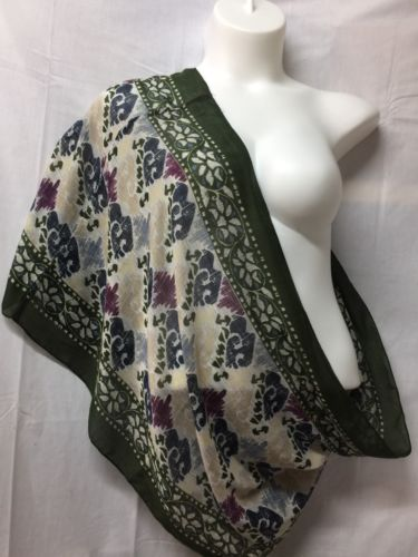 J JILL Infinity Scarf Green Multi Color Abstract Polyester Light Neck