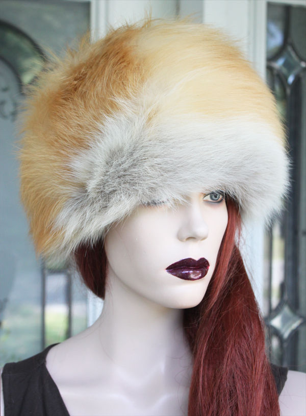 * NEW * Luxurious RED FOX FUR HAT