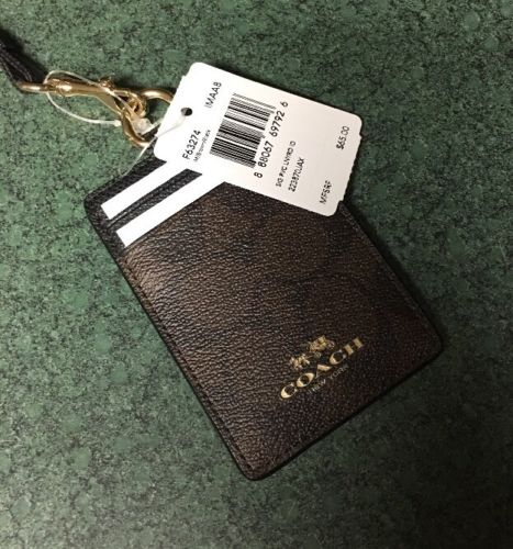 NEW COACH SIGNATURE PVC  LANYARD ID CASE BROWN/BLACK  F63274 $65
