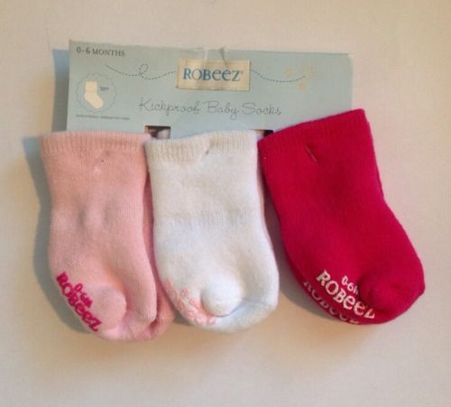 Robeez Baby Socks kickproof Size 0-6mo Solid Pink/White Organic
