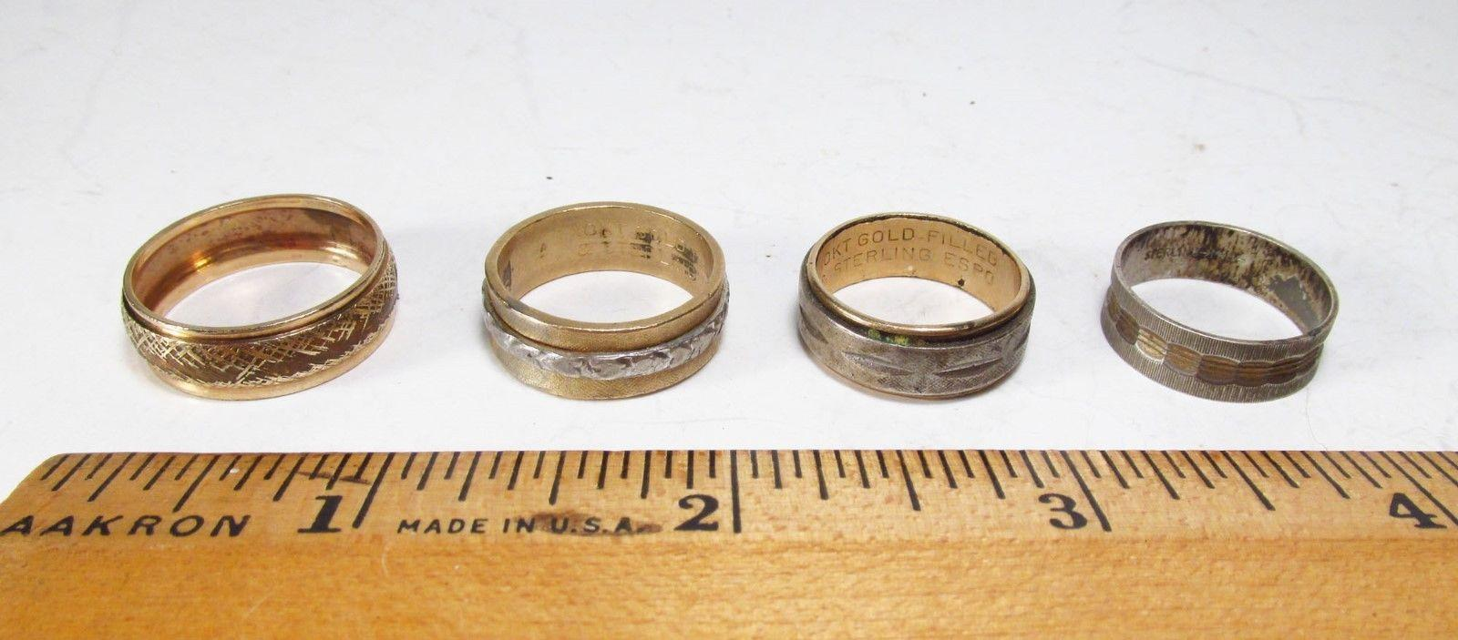 Vintage 1950s Lot 4 USA Made Gold Filed & Sterling Silver Mens Cigar Band Rings