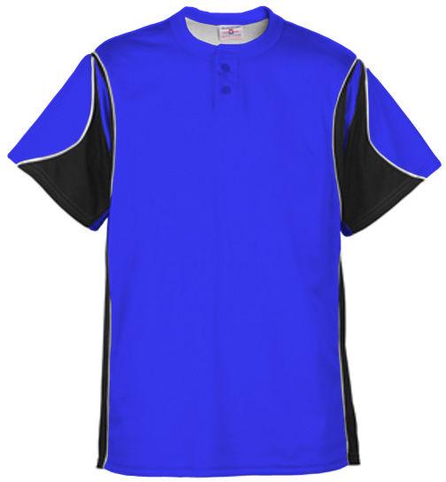 TEAMWORK Crossbow 2-Button Baseball Jersey  MEDIUM  Royal/Black