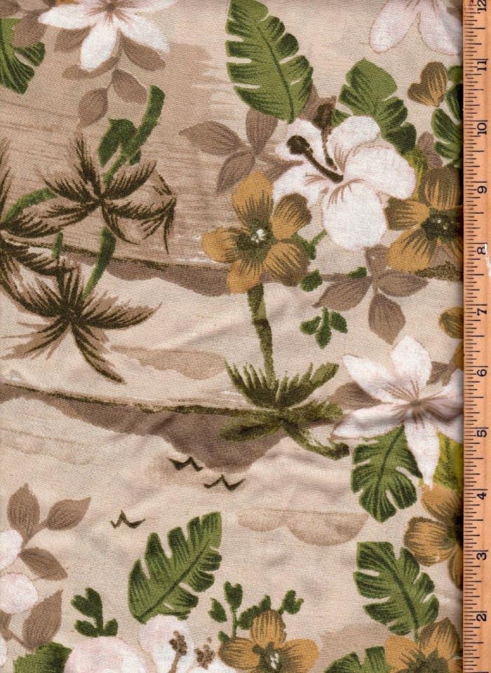 Fabric Hawaiian Green White Floral 3 1/2Yd 45