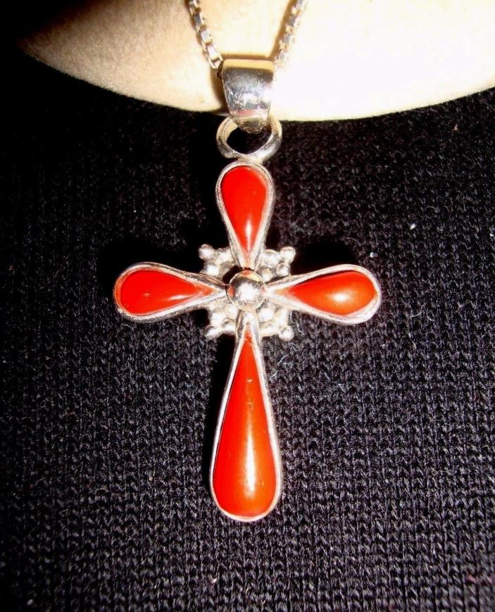 HAN Modernist Sterling Silver Teardrop Coral Religious Cross Pendant Necklace
