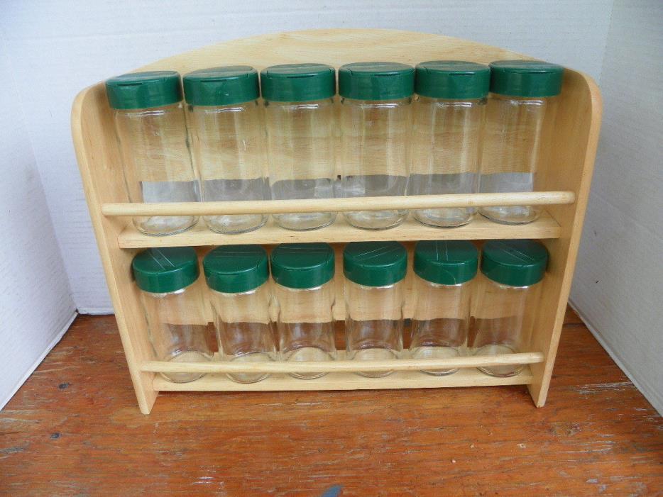 12 GLASS BOTTLES, EMPTY SPICE RACK, PARTS ORGANIZER, NUTS BOLTS BEADS