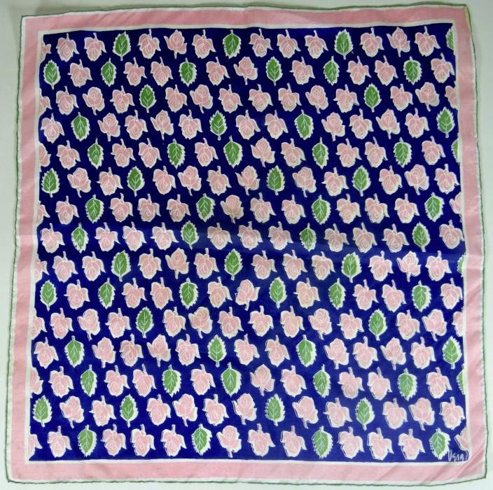 VERA Scarf 1950s Logo Square Pink Rosebuds Green Leaves Navy Vtg Neumann 16