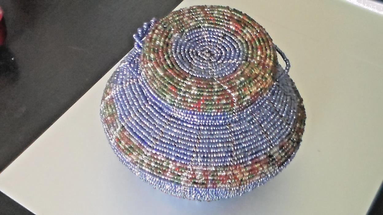 Vintage Handmade Beaded Basket with Lid, (attached)
