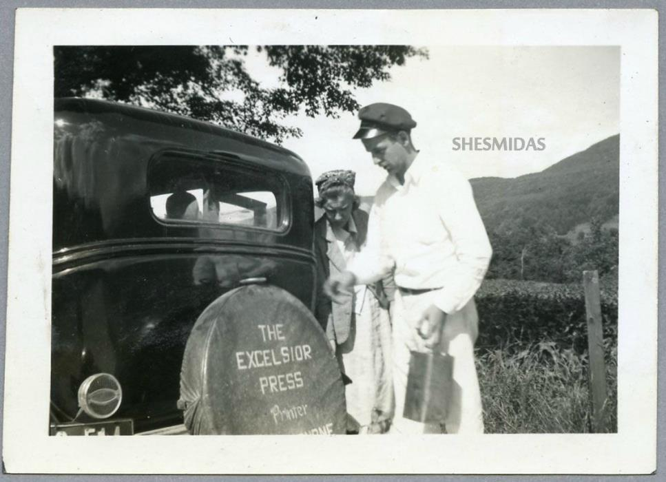 #678 Advertising Car Tire Cover, Man, Woman, Vintage Photo
