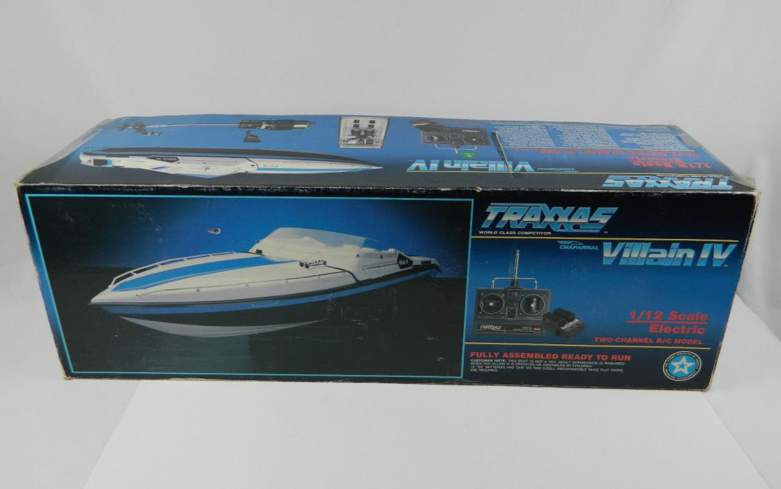 Vintage Traxxas Villain  IV Chaparral 1/12 Dual Motor Electric Boat w/ Box