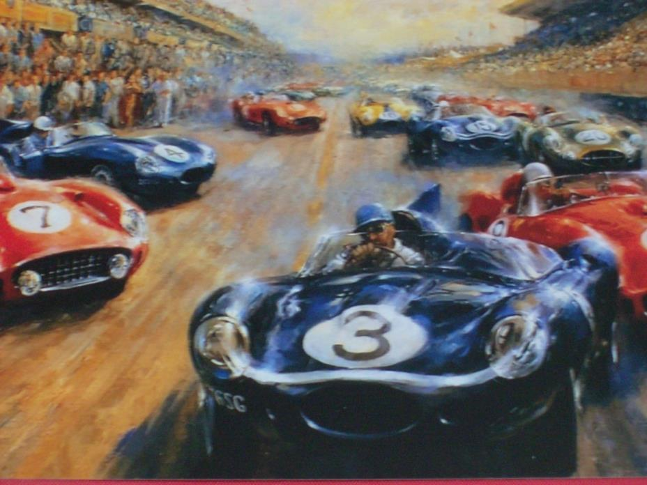 Vintage Car Race Painting Repro Postcard
