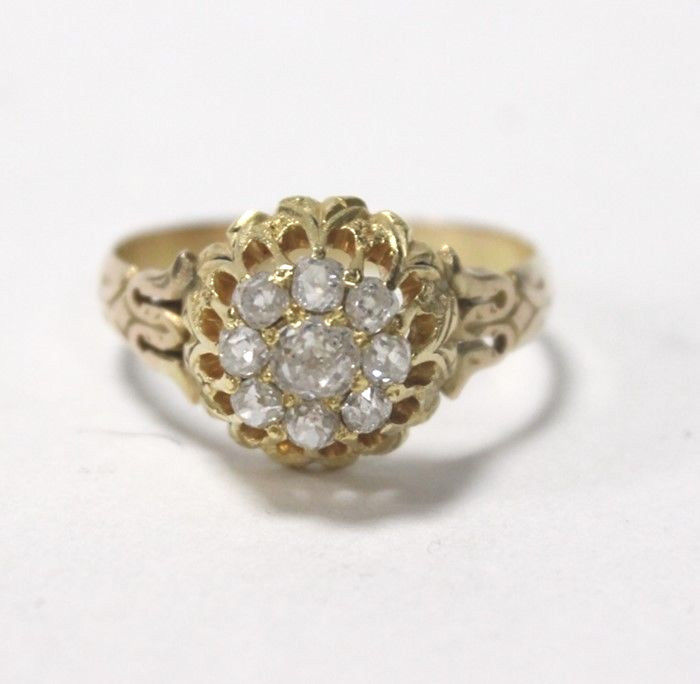 Antique Georgian Ring 14kt Yellow Gold Rose Cut Diamonds .8 Carats Size 8.5