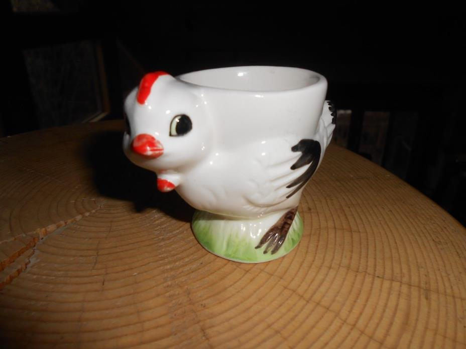 Adorable Vintage Hand Painted White Hen Egg Cup Made in Japan
