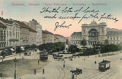 Budapest,Hungary,Barosplatz,Ostbahnhof,Trolley Cars,Used,1910